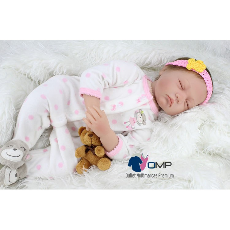 Bebê realista Reborn Barbara em Vinil silicone 55cm. Ref. 2748