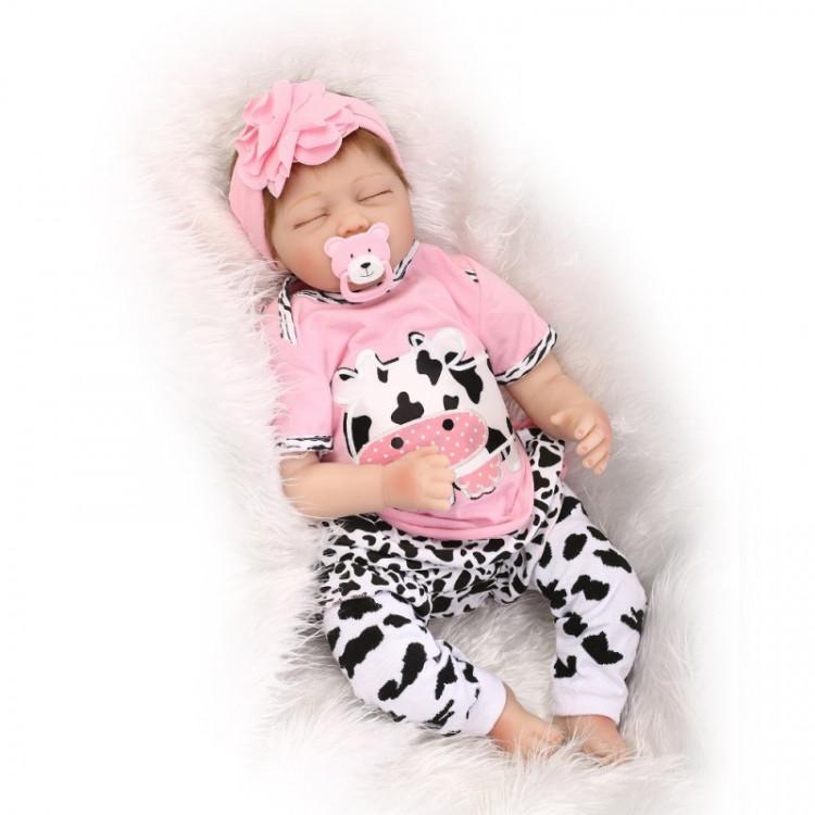 Bebê realista Reborn Beatriz em Vinil silicone 55 cm. Ref. 1012