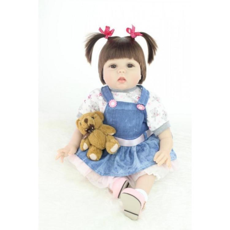 Boneca Bebê Real Reborn com acessórios e ursinho. REF 870258