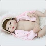 Bebê real reborn Charlote- Realista em Vinil completo com 55 cm.  Ref. 38777A